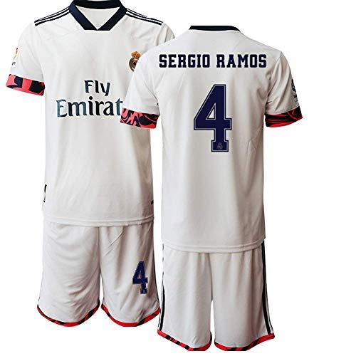 JESSY 20/21 Niños Sergio Ramos 4# Traje de Deportes al Aire Libre de Camiseta de fútbol para Niño (Tallas para niños de 4 a 13 años) (28)