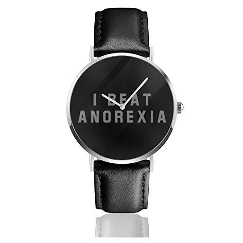 Unisex Business Casual I Beat Anorexia Uhren Quarzuhr Lederarmband schwarz für Männer Frauen Young Collection Geschenk