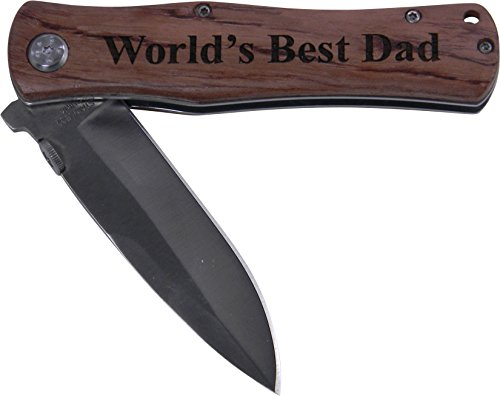 World's Best Dad Folding Pocket Knife - Great Gift for Father's Day, Birthday, or Christmas Gift for Dad, Grandpa, Grandfather, Papa, Husband (Wood Handle)