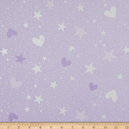 Benartex Kanvas Unicorn Magical Stars & Hearts Lilac Fabric, Purple