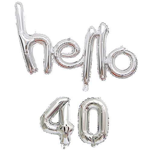 DIWULI, Hello 40 Luftballon, Silber, Zahlen-Ballon, Buchstaben-Ballon Banner, Zahlenluftballons, Folien-Luftballons Nummer Nr Jahre, Folien-Ballons, 40. Geburtstag, Party, Dekoration, Geschenk-Deko