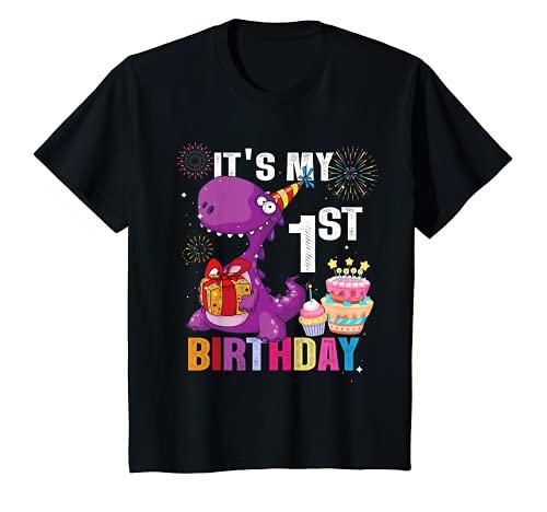 Bambino È il mio primo compleanno dinosauro 1 anni regalo per bambini Maglietta