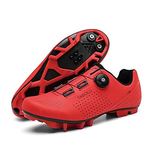 Kuxuan, scarpe da ciclismo da uomo, da donna, per primavera+estate, con chiusura a bottone in pizzo, con fibbia a bottone in pizzo, rosso, 3,5 UK = 230 mm = 36EU