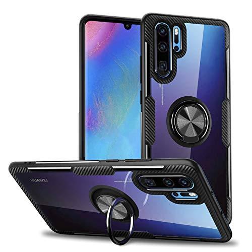 QLTYPRI Huawei P20 Pro Hülle, Ring Fingerhalterung 360 Grad Drehbarer Ständer Transparent PC Rücken Handyhülle für Huawei P20 Pro - Silber Schwarz