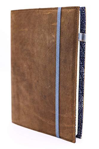 skaard Notizbuch Leder   dinA5   Nachfüllbar   Gepunktetes Recyclingpapier   Vintage Ledereinband   Triangle-Design   Tagebuch