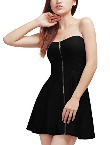 Allegra K Damen Sommer A Linie Reißverschluss Off Shoulder Minikleid Kleid Schwarz XS (EU 34)