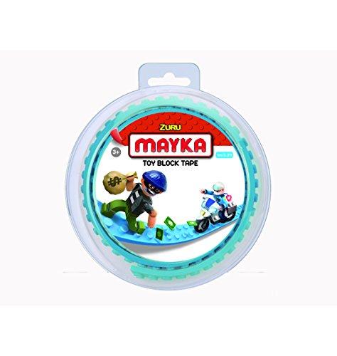 Mayka 34636 - Klebeband für Lego Bausteine, 1 m selbstklebendes Band mit 2 Noppen, lichtblaues Bausteinband, flexibles Noppenband zum Bauen mit Legosteinen für Kinder ab 3 Jahre, wiederverwendbar