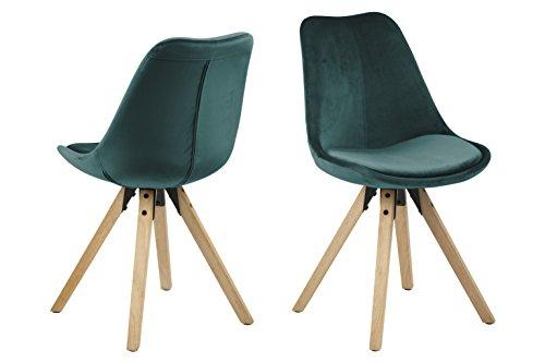 Amazon Brand - Movian Arendsee - Set da 2 sedie sala da pranzo, 55 x 55 x 85 cm (Lu x La x A), verde