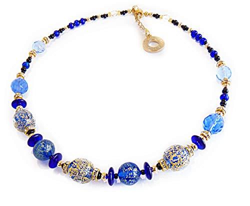 VENEZIA CLASSICA - Collana da Donna girocollo con perle in Vetro di Murano Originale, Collezione Diana, blu con foglia in oro 24kt, Made in Italy certificato