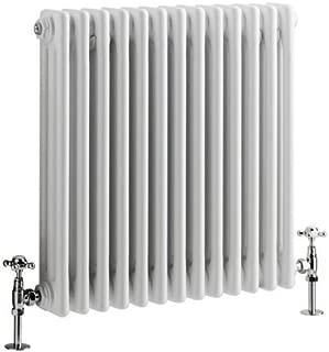 Hudson Reed - Regent - Traditional White Horizontal 3-Column radiator With Stunning Cast-Iron Style- 23.5