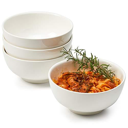 EZOWare 1100ml Set di Ciotole in Porcellana, Scodelle Rotonde per Pasta, Insalata, Cereali, Zuppa, Snack Dessert - Confezione da 4, bianco (17.8 x 8.5 cm)