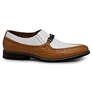 CRD3 Men's Two Tone Spade Heart Toe Chain Buckle Slip On Loafers Oxfords Perforated Dress Shoes (12 D(M) US, Tan/White)