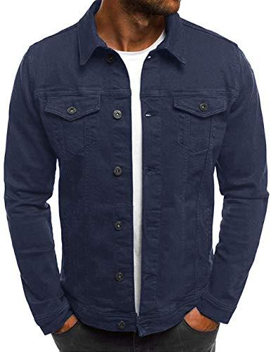 Beotyshow Mens Unlined Cotton Jacket Slim Fit Coat Long Sleeve Outerwear Denim Jackets Jean Button Down Cozy Fall Coats