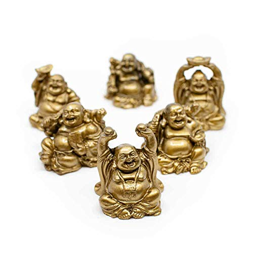 Spiru 6 Glücksbuddha-Minifiguren sitzend - Golden - 7 cm
