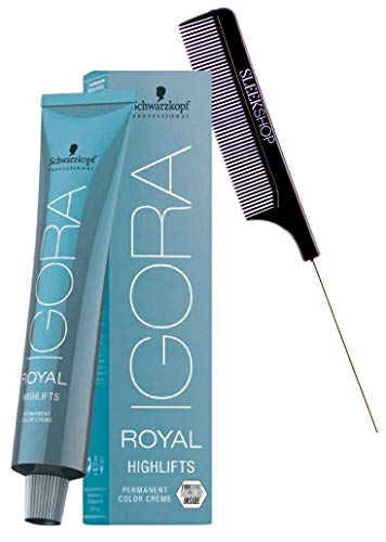 Schwarzköpf IGORA ROYAL HIGHLIFTS Permanent Hair Color Creme Dye (w/Sleek Comb) High Lift Cream Haircolor w/Fibre Bond Lifting (10-0 Ultra Blonde)