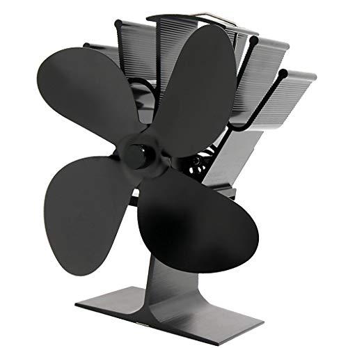 Baoblaze 4- Ventilador de Estufa Ventilador de Chimenea de Leña Operado Automáticamente Pequeño - Negro, Individual