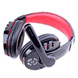 Stereo Earphone Headband Stereo Wireless Gaming Headset Headphones with Microphone Blue Tooth Surround Sound Headphones Over Ear for PC for Phone for PUBG (Black & Red)