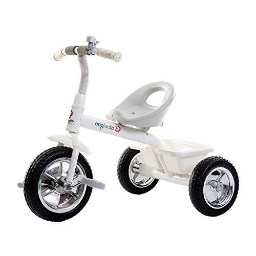 Cochecito De Bebé Bicicleta for Niños Bicicleta Ligero Vehículo De Entrenamiento De Equilibrio Pedal Antideslizante con Campana Triciclo Portátil Interior Y Exterior (Color : White)