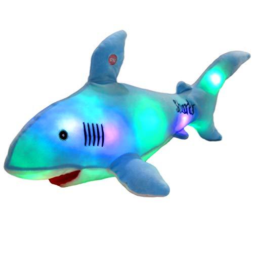 Bstaofy LED Shark Stuffed Animal Glow Plush Ocean Species Toy Night Lights Birthday for Kids, 20 Inches (Light Blue)