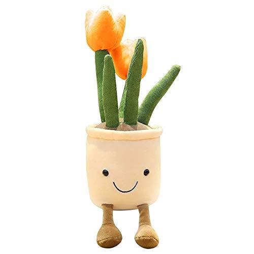 Muñeca de peluche con forma de tulipán realista, 35 cm, plantas suculentas, de felpa suave, de peluche, decoración de flores en maceta, regalo para niños y niñas, color naranja
