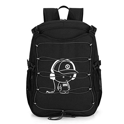 LSNLNN Bags,Oxford Spinning Men and Women Roller Skating Bag Casual Sports Backpack Luminous Silk Screen Pattern Student Bag External USB and Headphone Mouth Colorful