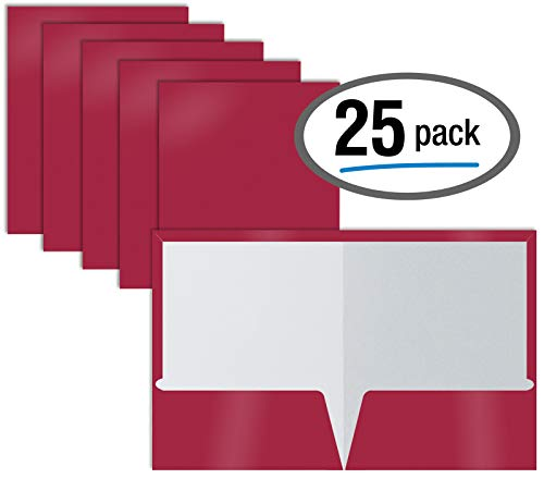 2 Pocket Glossy Laminated Burgundy Red Paper Folders, Box of 25, Letter Size, Burgundy Red Paper Portfolios by Better Office Products