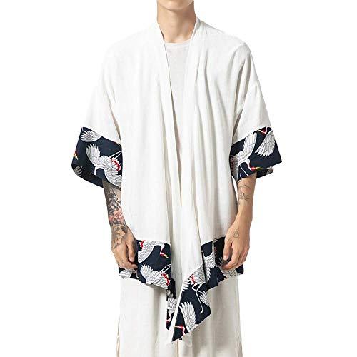 Generic Herrenhemd Chinesische Art Lange Baumwolle Und Leinen Lose Einfarbig Lässig Bequeme Plus Size Bluse 5X-Large