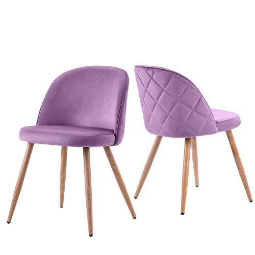Silla de comedor de salón, tapizada, silla de salón, silla de terciopelo silla de cocina, asiento suave y respaldo con patas de metal, juego de 2, selección de colores (púrpura)