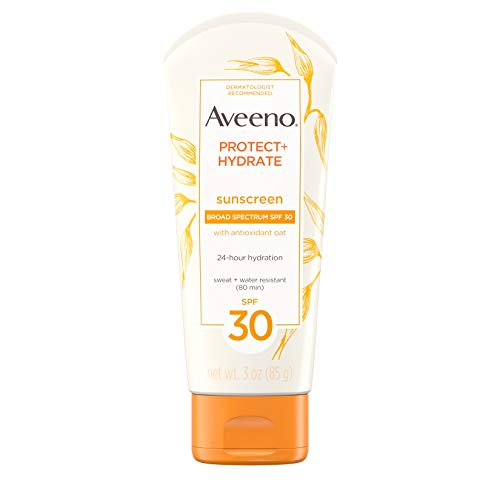 Aveeno Protect + Hydrate Moisturizing Sunscreen Lotion with Broad Spectrum SPF 30 & Antioxidant Oat, Oil-Free, Sweat- & Water-Resistant Sun Protection, Travel-Size, 3 oz