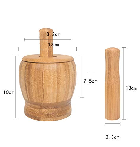 Mortar and pestle, wooden garlic masher, wooden - anti-overflow cover design - diameter 12cm / height 10cm - suitable for household grinding garlic, ginger, yam, walnut, pepper, all kinds of herbs,Woo