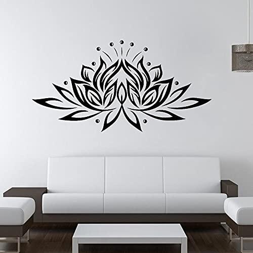 Lotus PVC pared arte pegatina casa Yoga Namaste vinilo pegatina dormitorio decoración cartel Mural A4 82x42cm