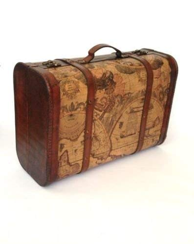 Treasure Chest Suitcase Memory Box Organiser Wooden Pirate Storage Box with Lid Antique Wood Vintage Style Trunk Wedding Card Holder Home Office Decorative Accessories Antique Vintage Style Trunk Map Themed Accessories
