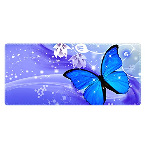Meffort Inc Extra Large Extended Gaming Desk Mat Non-Slip Rubber Pads Stitched Edges Mouse Pad 35.4 x 15.7 inch - Blue Purple Butterfly