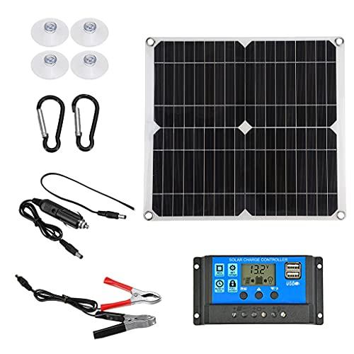MagiDeal Solarpanel 100W 12V, Solar Panels mit Solar Laderegler, Monokristallines Silizium-Solarmodul, Solaranlage Solarbetriebene Solar Panel für Outdoor, Camping-1Set 60A Solar Laderegler