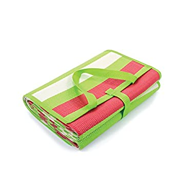 Camco Handy Mat Strap, Perfect Picnics, Beaches, RV Outings, Weather-Proof Mold/Mildew Resistant (Green/Red - 60  x 78 ) (42813)