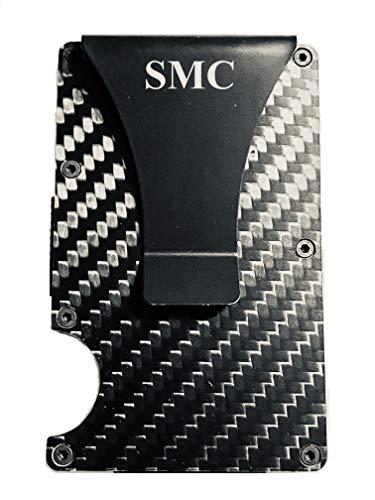 Smart Wallet As Seen On TV Carbon Fiber Wallet Card Holder Money Clip RFID Blocking Wallet Slim Pocket Wallet Business Card Holder | 1 Line ENGRAVING INCLUDED
