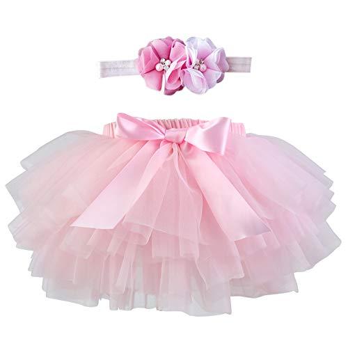 TOPmountain Falda tutú de princesa de tul para bebé, accesorios para fotografía de cumpleaños, incluye diadema