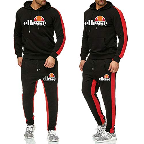 Ellesse Herren Hoodie Sport Kapuzenpullover Jogging Anzug+ Lange Hose Hip Hop Hoodies Classic Logo Hooded Sweatshirt Cotton Pullover Sportanzug,Black a,XXL