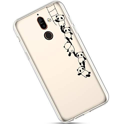 Felfy Custodia Compatibile con Nokia 7 Plus,Cover Nokia 7 Plus Silicone Morbido,Nokia 7 Plus Cover Trasparente con Disegni,Moda Dipinto Modello Design Ultra Sottile TPU Case.Panda