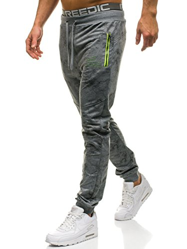 BOLF Herren Sporthose Trainingshose Jogger Fitness Sport Street Style RED Fireball W1336 Grau XXL [6F6]