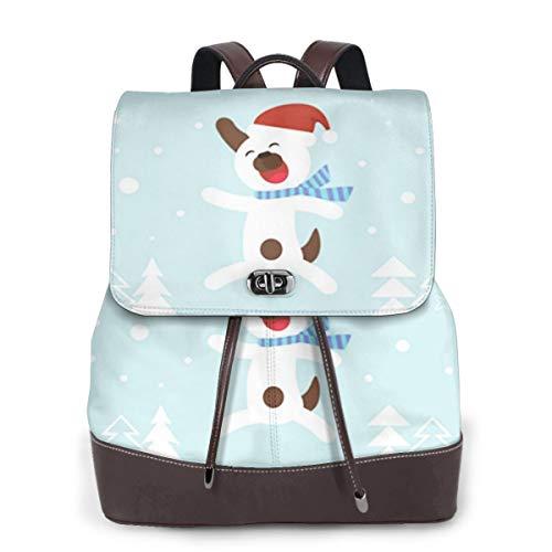 SGSKJ Rucksack Damen Hundehut 44, Leder Rucksack Damen 13 Inch Laptop Rucksack Frauen Leder Schultasche Casual Daypack Schulrucksäcke Tasche Schulranzen