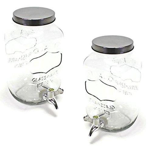 Bada Bing 2er Set Getränkespender 3,5l aus Glas mit Zapfhahn und Deckel 07WV