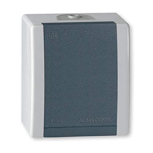 ALING-CONEL | 1-fach Steckdose mit Klappdeckel für Feuchtraum | Aufputz Schutzkontakt - Grau | 16A/250V~ | IP44 | Serie: Power Line | Art.-Nr. PL004-2411.1A