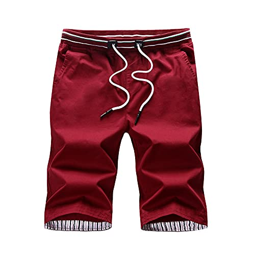 Pantalones Cortos para Hombre Casual Classic Fit Summer Trend Todo-fósforo Lavable Resistencia Casual Cintura elástica Pantalones Cortos básicos con cordón 3XL