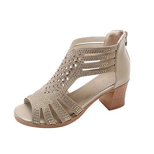 VJGOAL Sandalias de Mujer Moda Casual de Verano Hueco Boca de Pescado Punta Abierta Zapatos de tacón Alto Cuadrado Grueso talón Cremallera Sandalias de Roma