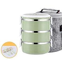 キッズスクール-4_Layer_Pink_-_セットの熱ポータブルステンレススチール製食品容器漏れ防止日本の弁当箱プラスチック製のランチボックスサーモス3 4レイヤ CT55CT (Color : 3 Layer Green Set)