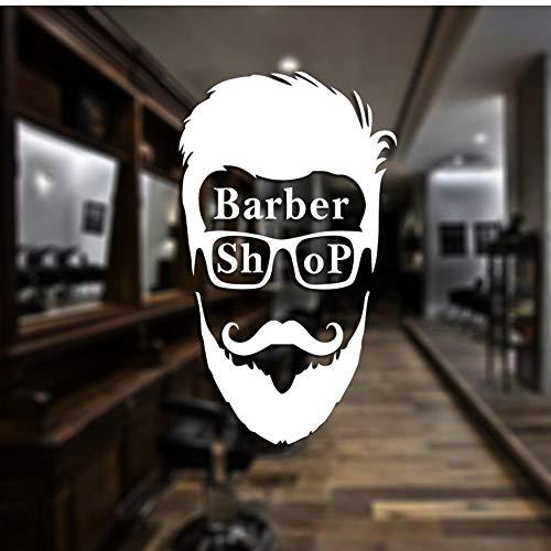 MRQXDP Barber Shop Sticker op maat Decal Posters Vinyl Wall Art Decor Ramen Decoratie Haircut Shavers Glass Decals 34x58cm Muursticker