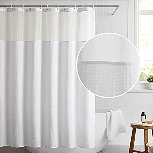BedsureFabricShowerCurtain White Waffle WeaveShowerCurtainfor Bathroom Waterproof Bathroom Curtain with 12 Hooks Machine Washable 72x72 Inch