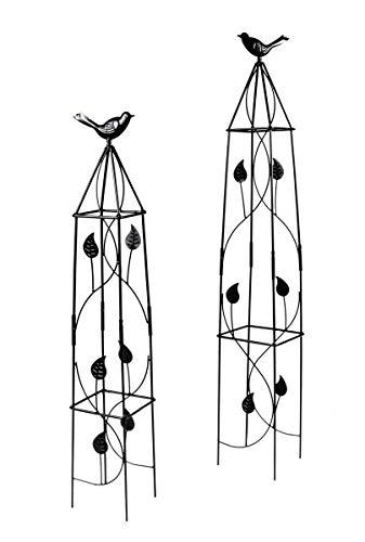 Lifetime Garden! Rankhilfe für Kletterpflanzen in 2 Größen mit Deko-Vogel, Obelisk-Kletterhilfe für den Garten, Metall, schwarz, Höhe ca. 71,5 cm / 91 cm