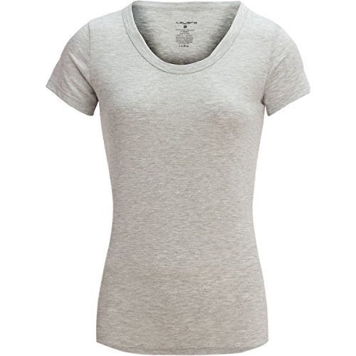Layer 8 Womens Ladies Short Sleeves Basic Scoop Neck Lounge Top Shirt Heather Grey Medium